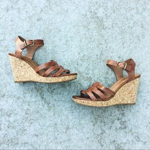 Lucky Brand Leather Cork Wedge Sandals